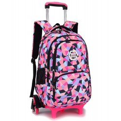 Large six-wheeled school bag pink